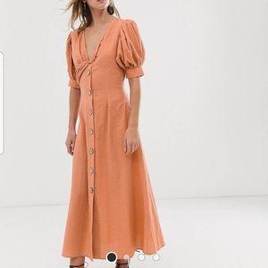 ASOS button-through twist front maxi tea dress